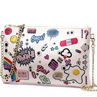 Leather Envelope Clutch Bags Cartoon Printing Day Clutches Purse Small Chain Bag