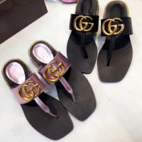 Gucci  high fashion cool slippers female low and Flip Flops Beach T towing