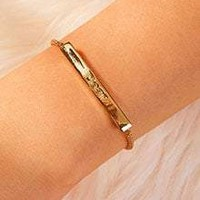 Letter Engraved Bar Adjustable Chain Bracelet 1pc