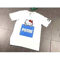 PUMA & HELLO KITTY joint model was thin and versatile simple fashion popular women's T-shirt F-AA-XDD white