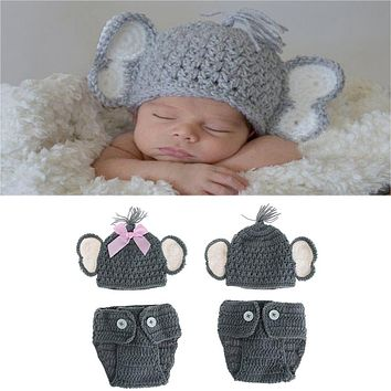 born Baby Elephant Knit Crochet Hat Costume Photo Photography Prop Outfits