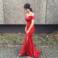 Off Shoulder Red Satin Mermaid Prom Dresses