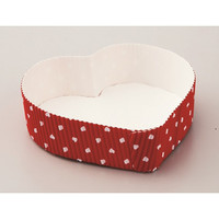 4.3L x 4.7W x 1.3H Heart Baking Tray White/Red Dots/Case of 200
