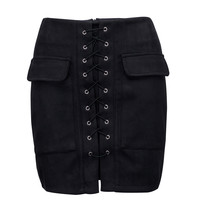 Black Faux Suede Lace Up Front Pencil Mini Skirt