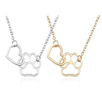Trendy Animal Necklace Cute Dog Paw Pendant Best Friend BBF Gold Chain Pet Doggy Choker Hip Hop Love Heart Necklaces&Pendants
