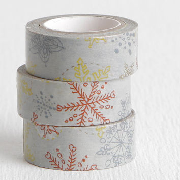 Yellow Gray Red Snowflake Washi Tape, Winter Scrapbooking, Cold Weather Gray Paper Tape, Winter Washi 15mm x 5m
