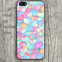 Cartoon heart pink colorful iphone 6 6 plus iPhone 5 5S 5C case Samsung S3,S4,S5 case Ipod Silicone plastic Phone cover Waterproof