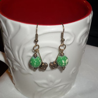 Antiqued Bronze Tone and Green Bead Earrings, Bronze Jewelry, Green and Bronze