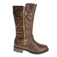 Mango21K Brown Pu By Link, Children's Girl Knee High Quilted Stitched Buckle Riding Boots