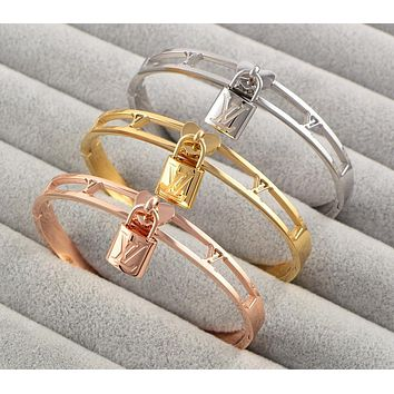 "Hot Sale ""Louis Vuitton"" LV Popular In The World New Lock Hollow Stainless Steel Bracelet Jewelry(3-Color) I-HLYS-SP"