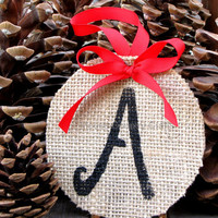 Christmas/Holiday Burlap Ornament, Gift Tag, Personalized Ornament/Gift Tag, Burlap Gift Tag, Rustic Gift Tag/Ornament