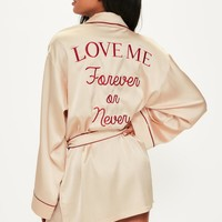 Missguided - Nude Satin Piped Embroidered Slogan Robe