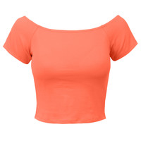 LE3NO Womens Short Sleeve Off Shoulder Crop Top (CLEARANCE)