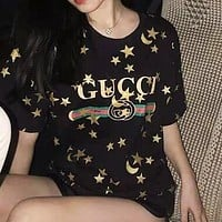GUCCI Fashion Women Men Casual Star Print Round Collar T-Shirt Top Blouse