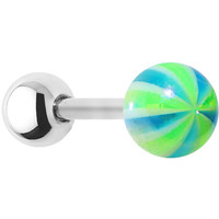 16 Gauge Metallic Blue Green Ball Cartilage Tragus Earring | Body Candy Body Jewelry