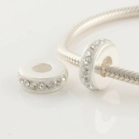 1pc 925 Sterling Silver Charms White Crystal Spacer Beads Compatible with Pandora Chamilia Kay Troll European Bracelets