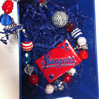 Texas Rangers beaded necklace with removable pendant