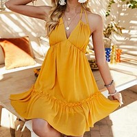Halter Solid Color Scalloped Mini Dress