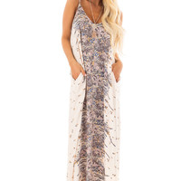 Cream Floral Design Cocoon Maxi Dress with Pockets