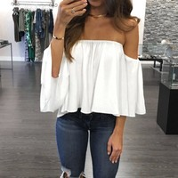 Long Sleeve Pullover Off Shoulder Casual Blouse