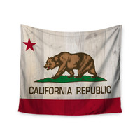 """Bruce Stanfield """"California Flag Wood"""" Brown Wall Tapestry"""