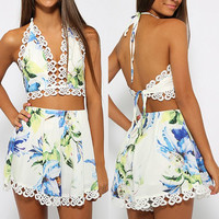 Floral Print Laciness Tank Top + Cut Out Shorts Twinset