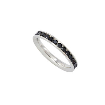 Stainless Steel Black CZ Ring Stackable Band 4mm Cubic Zirconia