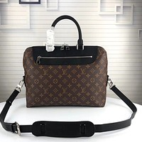 LV Louis Vuitton MONOGRAM CANVAS Documents Jour BRIEFCASE BAG CROSS BODY BAG