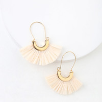 Sunny Fun Ivory Raffia Fan Earrings