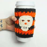 Halloween Skull Coffee Cozy in Orange and Black Stripes, ready to ship.