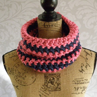Ready To Ship Infinity Scarf Pink and Navy Thick Women's Accessory Cowl Infinity Scarf One of a Kind OOAK