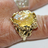 Vintage Chunky Cocktail Ring Iridescent  1950s Jewelry