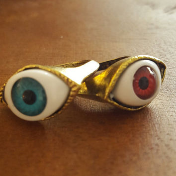 Vintage Evil eye Ring Antique Gold Rustic Evill eye ring statement ring jewelry
