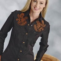 Roper P 35r Bl Twill With Paisley Emb 8935 Old West Collection Long Sleeve Urban Western Wear