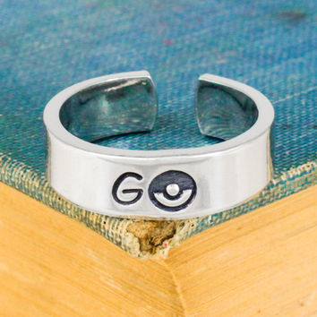Go Ring - Pokeball - Video Game Jewelry - Adjustable Aluminum Cuff Ring