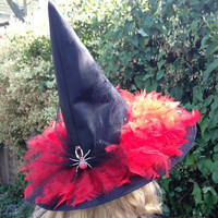 Glamorous Sparkly Witch Hat with Black Net Bow, Diamanté Spider Brooch and Scarlet Red Feathers