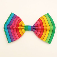 Rainbow Hair Bow • Striped Hair Bow • Colorful Bow • Back To School • Colorful Fashion • Spring Style Fashion • Cotton Hairbow