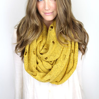 mustard chunky infinity scarf, vintage sweater knit, soft loop scarf, chunky knit infinity scarf, destroyed scarf, edgy scarf