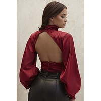 fhotwinter19 new women's fashion sexy high neck satin folds lantern sleeve sexy open back jumpsuit