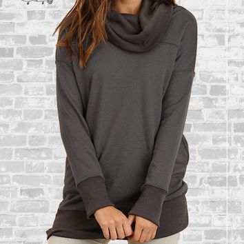 Cozy Cowl Neck Pocket Sweatshirt - Ash - Small only