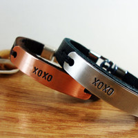 FREE SHIPPING - Personalized Bracelet. Men Leather .Men and Women Bracelet. Leather Bracelet.Valentine gift. Christmas Gift. Hugs and kisses