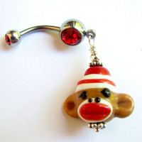 Christmas Sock Monkey Belly Button Ring
