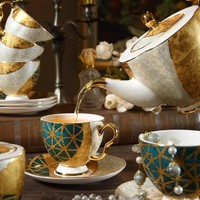 Tea Set- Emerald Green with Gold Inlay Porcelain