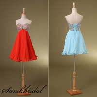 Sweetheart Red or Blue Short Prom Party Dresses Wedding Evening Cocktail Gown