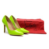 Christian Louboutin Fluorescent Green Patent Leather High Heels 100mm