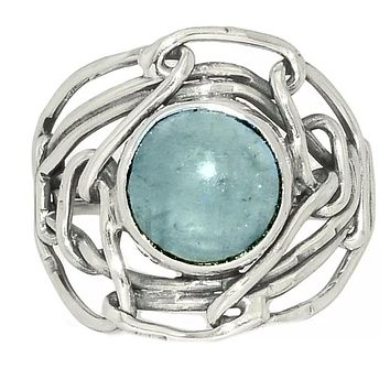 Aquamarine Industrial Sterling Silver Ring