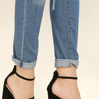 Fifi Black Suede Ankle Strap Heels