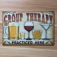 """""""Group Therapy Practiced Here"""" Vintage Metal Sign"""