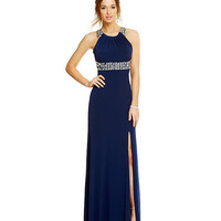 Sequin Hearts High Neck Beaded Illusion Waist Gown | Dillards