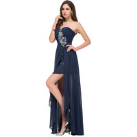 Short front long back prom dresses 2016 Navy blue prom dress slit special occasion dress strapless party formal gown under $40